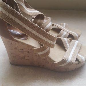 Target Merona Wedge Sandals Taupe Sz 10